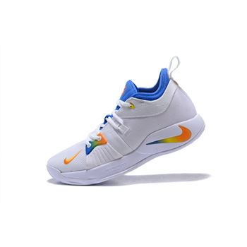 Nike PG 2 White Blue Orange Paul George Basketball Shoes