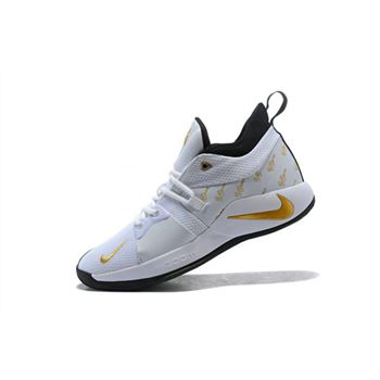 Nike PG 2 White Gold Black Mens Basketball Shoes