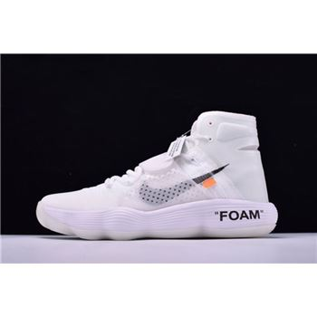 Men's Off-White x Nike REACT Hyperdunk 2017 Flyknit Triple White GHOSTING AJ4578-100