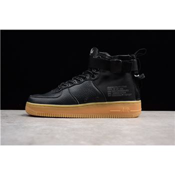 Mens Nike SF AF1 Mid Black Gum Black Black Gum Light Brown