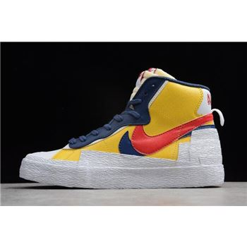 Sacai x nike air slant grey pink blue background Blazer Yellow Obsidian Red White AA3823-400