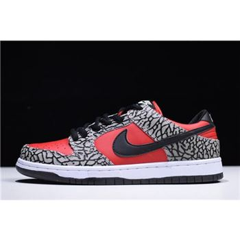 Supreme x Nike Dunk Low Premium SB Fire Red Cement Grey Black