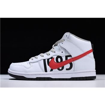 Undefeated x Nike Dunk Lux High White Black Infrared