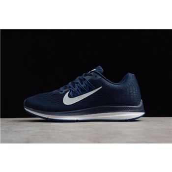 Mens Nike Air Zoom Winflo 5 Midnight Navy Silver Grey Gym Blue Running Shoes