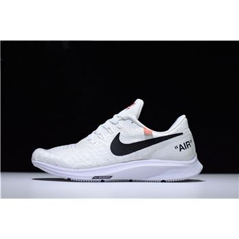 Mens and WMNS Off White x Nike Air Zoom Pegasus 35 White Running Shoes