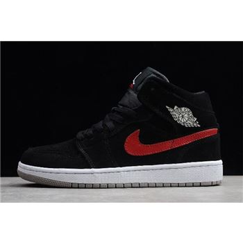 "Air Jordan 1 Mid ""Multicolor Swoosh"" Black/University Red-Blue 554724-065"
