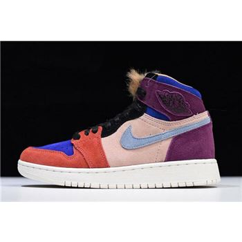 "Aleali May x WMNS Air Jordan 1 High ""Viotech"" Bordeaux/Sunset Tint-Rush Red-Light Armory Blue BV2613-600"