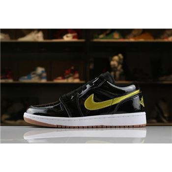 "Men's and Women's Air Jordan 1 Low ""Patent Leather"" Black/Gold-White-Gum 554723-032"