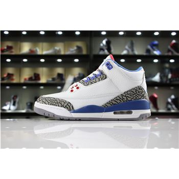 "Air Jordan 3 ""True Blue"" White/Fire Red-True Blue 854262-106 Men and Women Shoes"