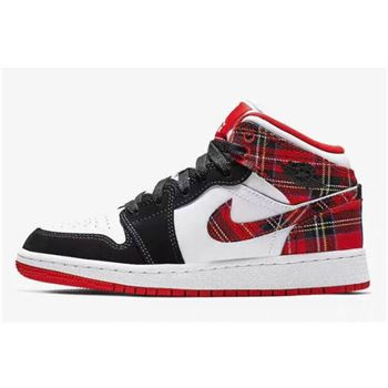 "nike shoe with white strings on back on computer Mid GS ""White Plaid"" Habanero Red/Black-White 554725-607"