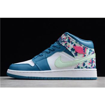 2019 Air Jordan 1 Mid GS White/Blue-Pink-Green 555112-300