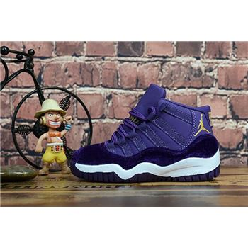 "Kid's Air Jordan 11 ""Purple Velvet"" Purple/Metallic Gold-White"