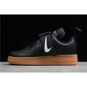 Nike Air Force 1 Utility Black/White-Gum Med Brown AO1531-002