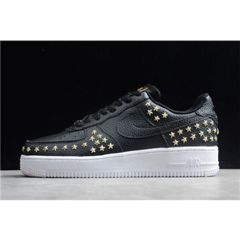 "Womens Nike Air Force 1 Low ""Star-Studded"" Black/Metallic Gold-White AR0639-001"