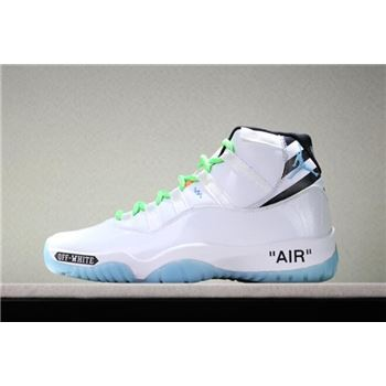 Custom Off-White x Air Jordan 11 White/Legend Blue/Black/Green Free Shipping