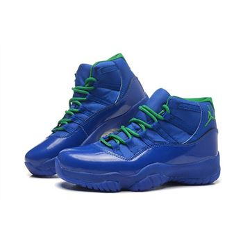 New Air Jordan 11 GS Blue Green Basketball Shoes