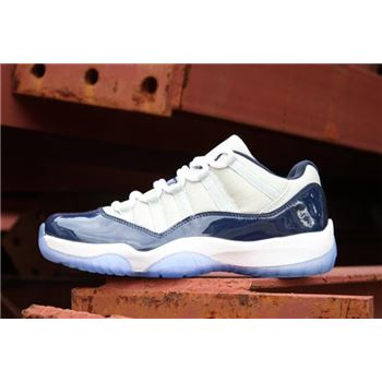 New Air Jordan 11 Retro Low Georgetown Grey Mist/White-Midnight Navy 528895-007