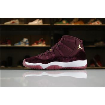 Air Jordan 11 Heiress Red Velvet Night Maroon/Metallic Gold 852625-650 For Sale