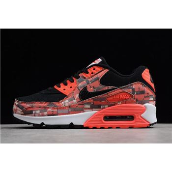 "Atmos x nike air max flair wolf grey shoes sale today show 90 Print ""We Love Nike"" Black/Bright Crimson-White AQ0926-001"