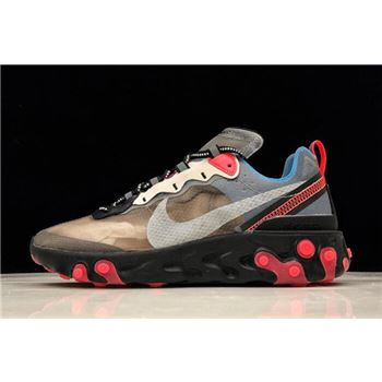 Nike React Element 87 nike shox gray and green background blue cross