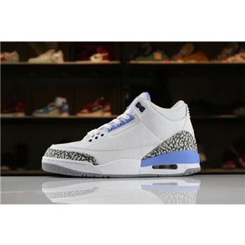 2018 Air Jordan 3 UNC PE White/White-Blue 820078 For Sale