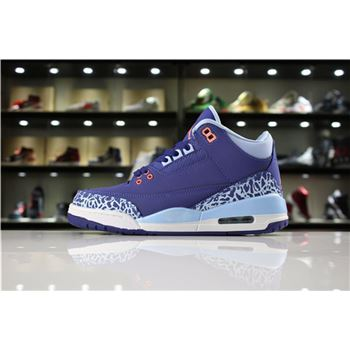 Women's Air Jordan 3 GS Purple Dust Dark Purple Dust/Atomic Pink-Blue Cap 441140-506