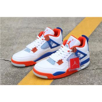 Custom Air Jordan 4 Knicks White/Royal Blue-Orange 308497-171 Free Shipping
