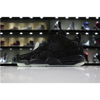 Mens KAWS x Air Jordan 4 Cool Black glow-in-the-dark outsole