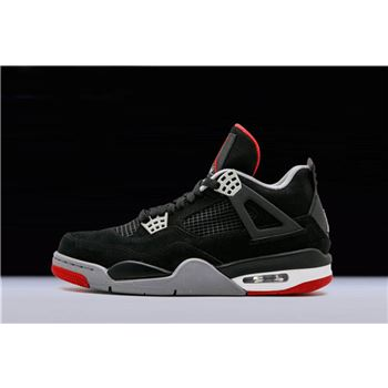 New Air Jordan 4 Retro Bred Black/Cement Grey-Fire Red 308497-089