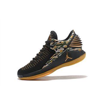 New Air Jordan 32 XXXII Low Camo Black/Metallic Gold-White AH3347-021