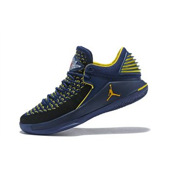 New Air Jordan 32 Low Michigan PE College Navy/Maize Yellow Men's Basketball Shoes