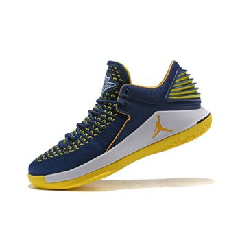 New Air Jordan 32 Low Navy/White-Maize Yellow Men's Basketball Shoes