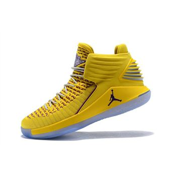 New Air Jordan 32 Warriors Yellow/Light Purple Men's Basketball Shoes