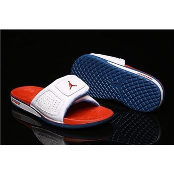 New Air Jordan Hydro 3 III Retro White/Fire Red-True Blue Sandals 854556-100