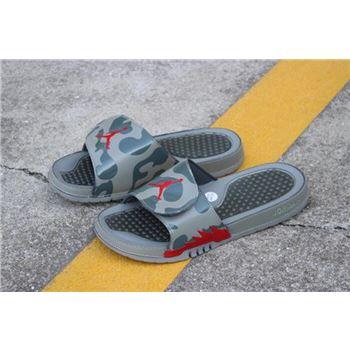 New Air Jordan Hydro 5 Retro Slide Dark Stucco/Red 555501-051