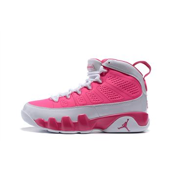 Women's Air Jordan 9 GS Peach Pink/White Basketball Shoes