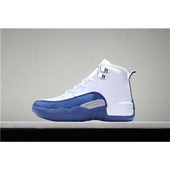 Kid's Air Jordan 12 French Blue White/French Blue-Metallic Silver-Varstiy Red