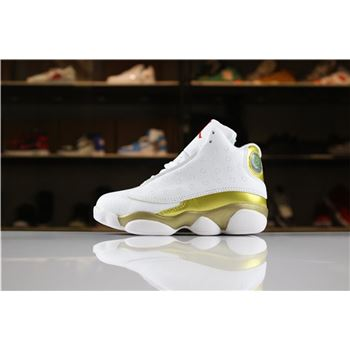 Kid's Air Jordan 13 DMP White/Metallic Gold-Varsity Red For Sale