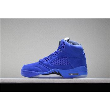 Kid's Air Jordan 5 Retro Blue Suede Game Royal/Black
