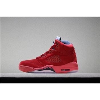 Kid's Air Jordan 5 Retro Red Suede University Red/Black Free Shipping