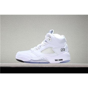 Kid's Air Jordan 5 Retro Metallic White White/Metallic Silver-Black