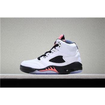 Kid's Air Jordan 5 Retro White/Sunblush-Black Basketball Shoes