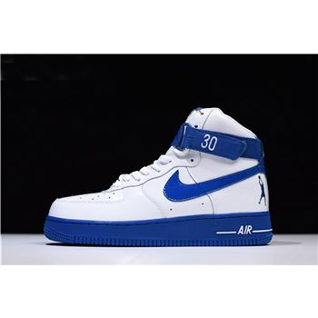 Men's and Women's Nike Air Force 1 High Sheed Rude Awakening White/Blue Jay AQ4229-100