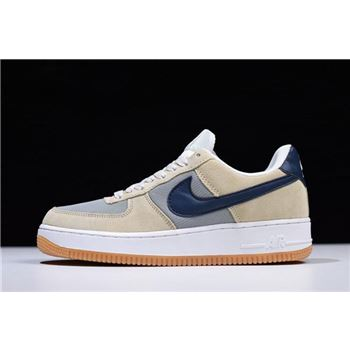 Mens Nike Air Force 1 Low Suede Mushroom Light Grey Navy Blue