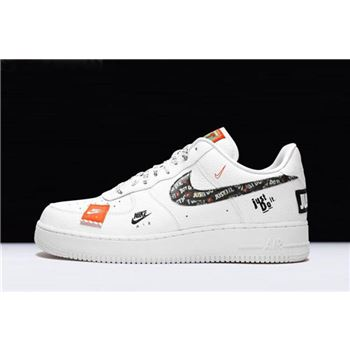 Nike Air Force 1 07 Premium Just Do It White Black Total Orange