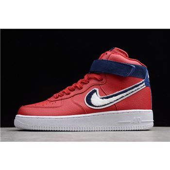 Nike Air Force 1 High 07 LV8 Chenille Swoosh Gym Red White Blue Void
