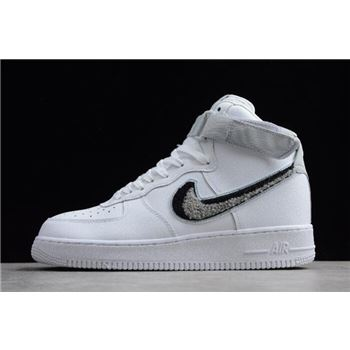 Nike Air Force 1 High 07 LV8 Chenille Swoosh White Pure Platinum Black Wolf Grey