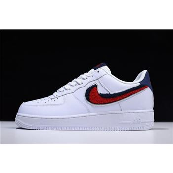 Nike Air Force 1 Low 07 LV8 Chenille Swoosh White University Red Blue Void