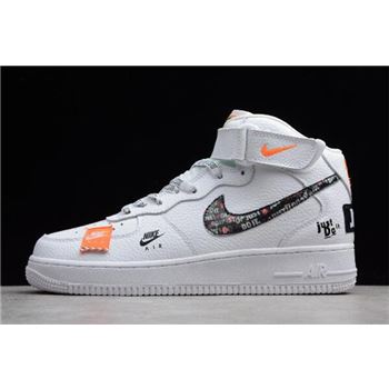 Nike Air Force 1 Mid Just Do It White Black Total Orange