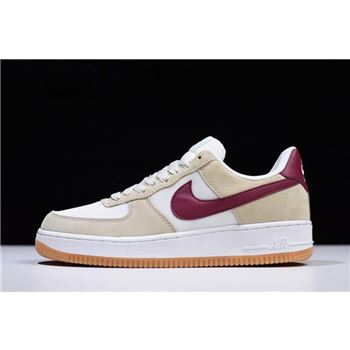 nike air force 1 low suede mushroom white wine red